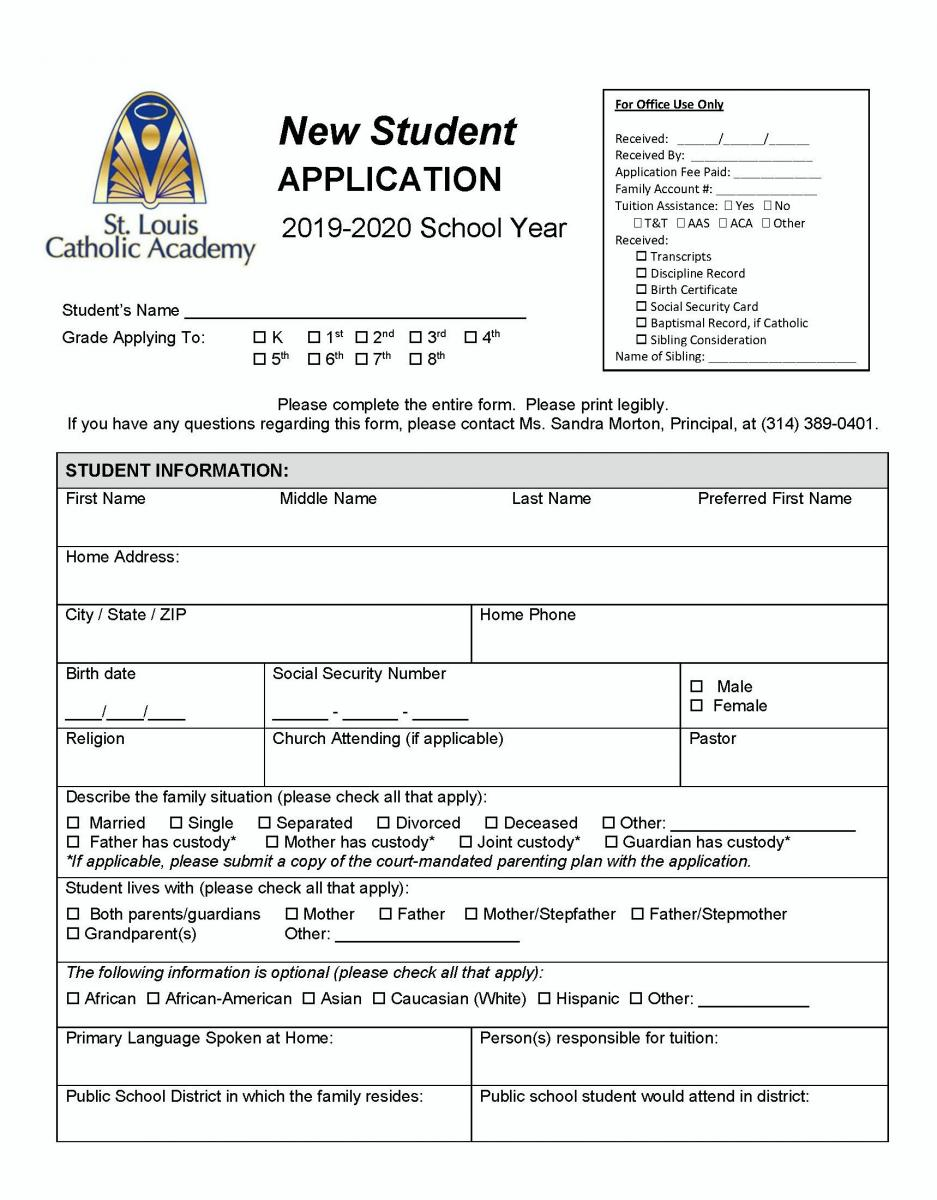 St. Louis Catholic Academy New Student Application